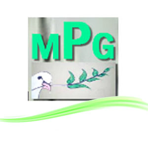 MPG Marrickville Peace Group. MPG in green capital letters with a white dove.